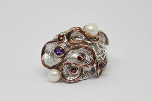 SS Ring set with Pearl, Amethyst & Garnet