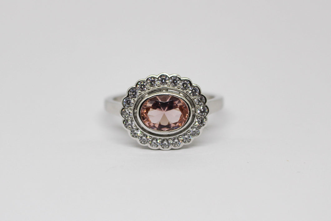 SS Oval CZ Morganite & CZ ring