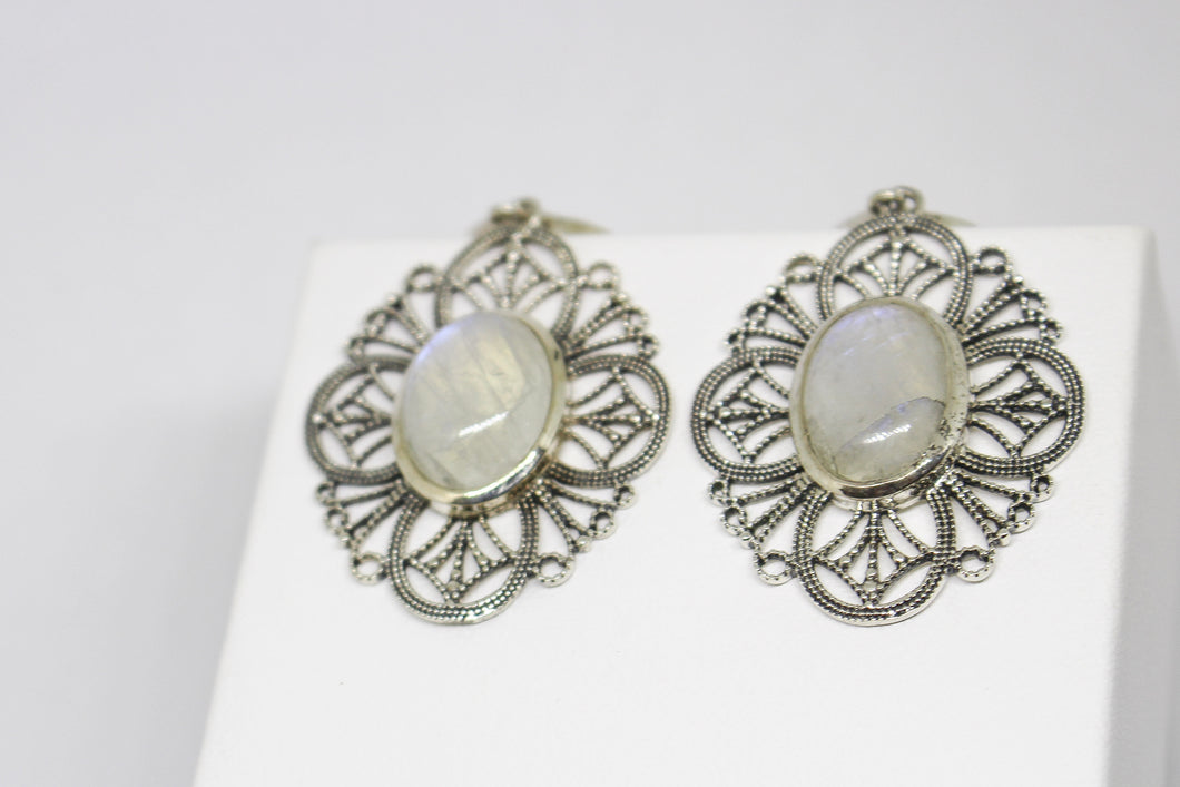 SS Rainbow Moonstone Earrings