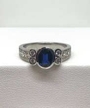Load image into Gallery viewer, 18ct White Gold Australian Sapphire & Diamond Ring