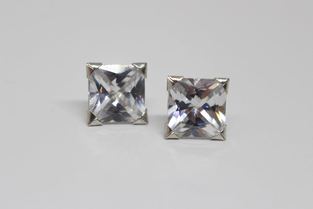 9ct White Gold Square Cubic Zirconia Earrings