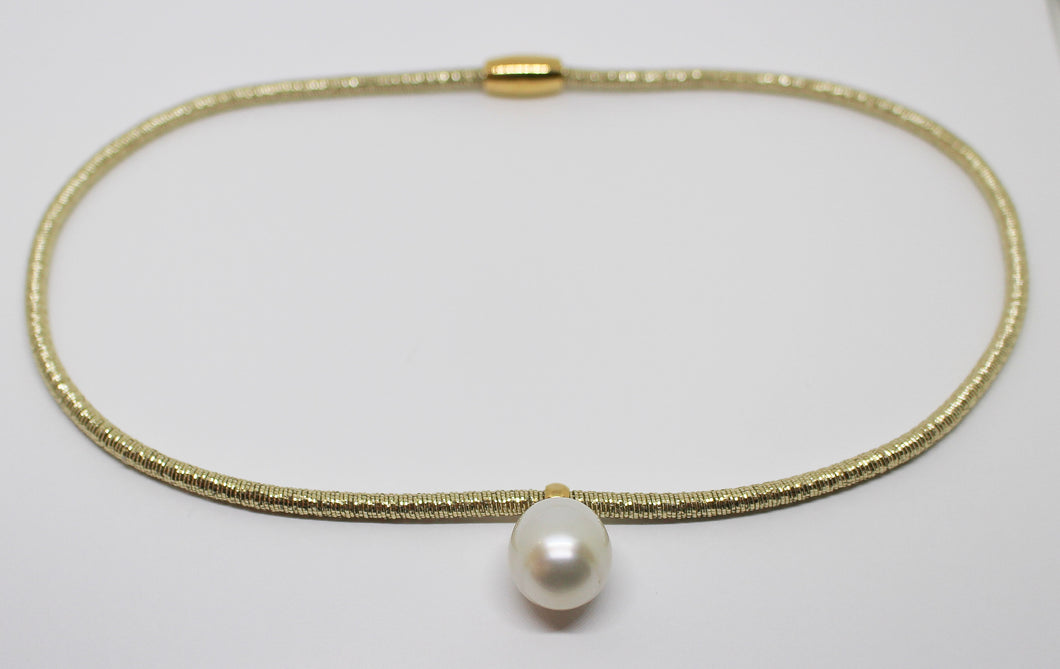 14-14.5mm White South Sea Pearl Stainless Steel Gold Plated Necklace