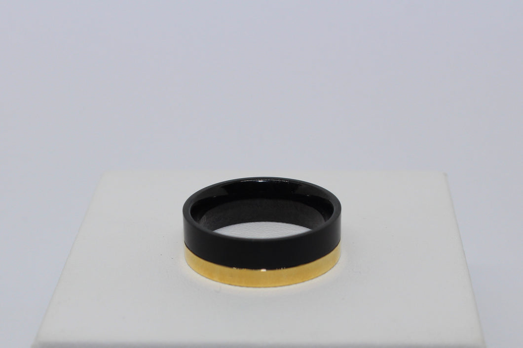 Blaze Infinity Titanium Mens Black & Gold Plated Ring