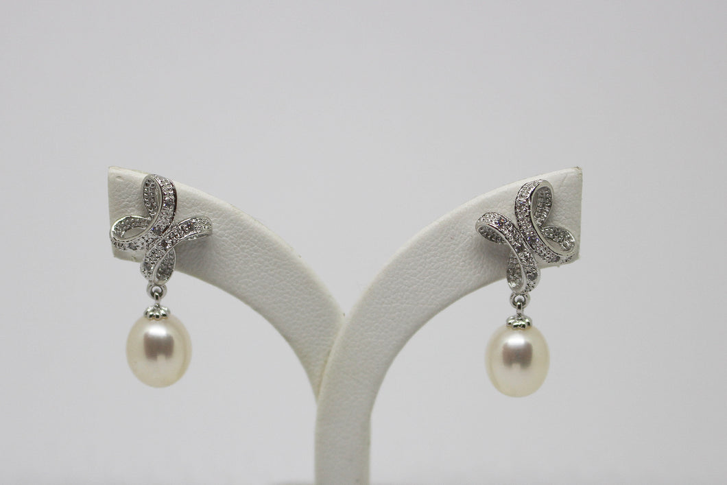 SS FW Pearl & CZ drop Earrings