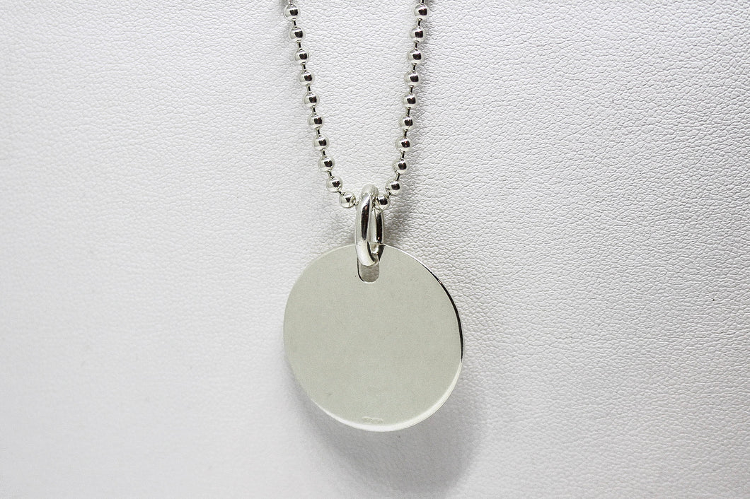 SS Circle Pendant on Ball Chain
