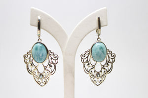 SS Larimar & Blue Topaz Earrings