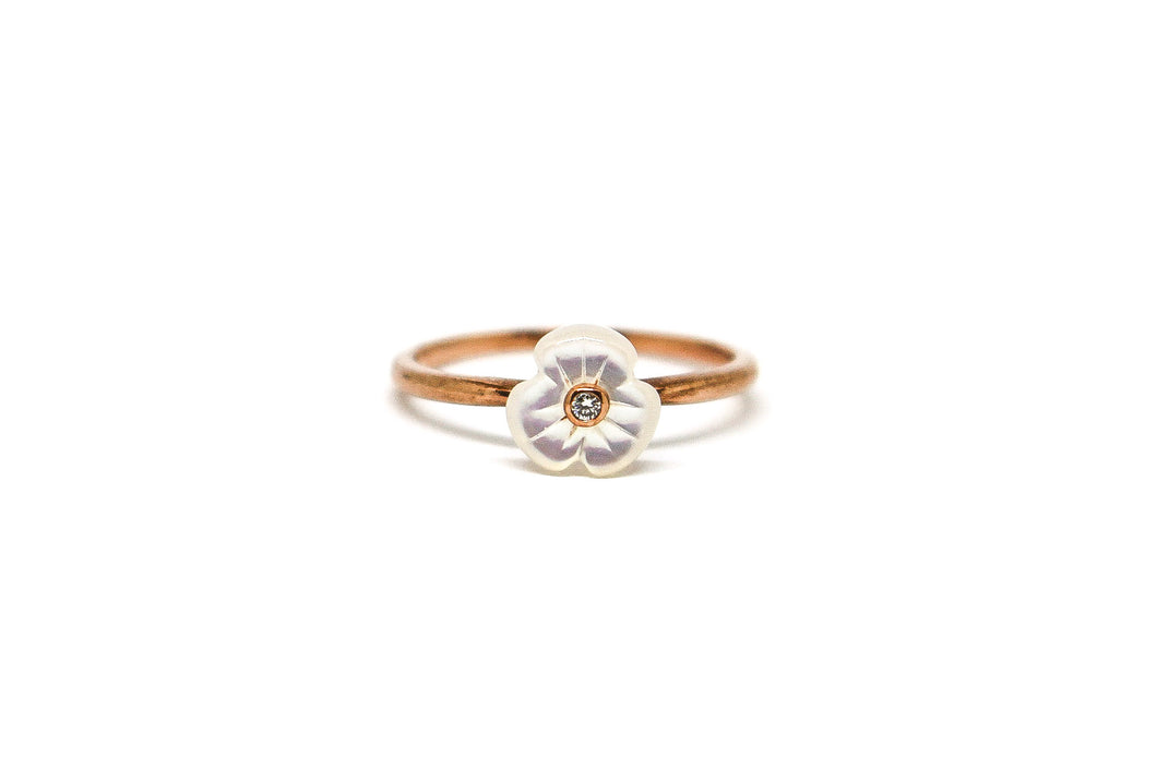 9ct Rose Gold Mother of Pearl and Diamond Ring