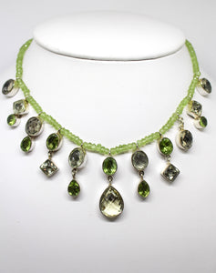 SS Peridot, Lemon Quartz Necklace