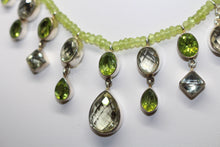 Load image into Gallery viewer, SS Peridot, Lemon Quartz Necklace