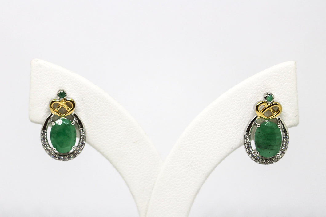 SS Emerald CZ Gld Heart Earrings