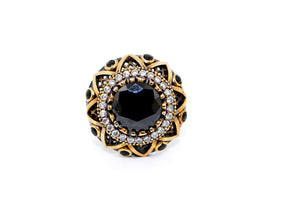 SS and Brass CZ & Onyx Ring