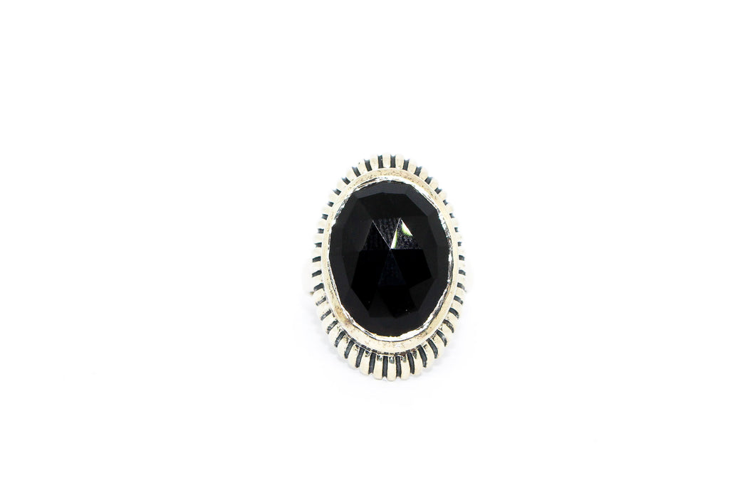 SS Black Onyx Ring