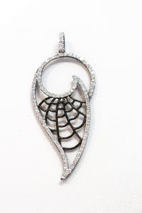 SS CZ Leaf Drop with Black Filigree Necklace