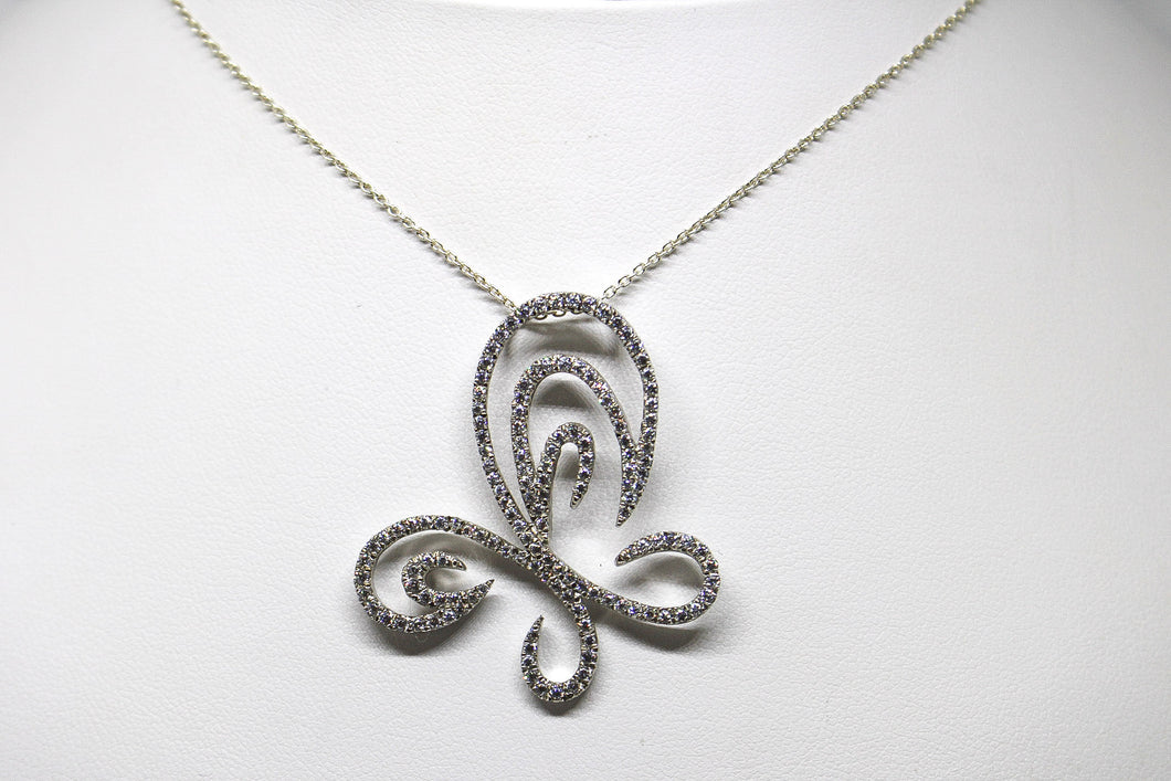 SS CZ Fancy Butterfly Necklace