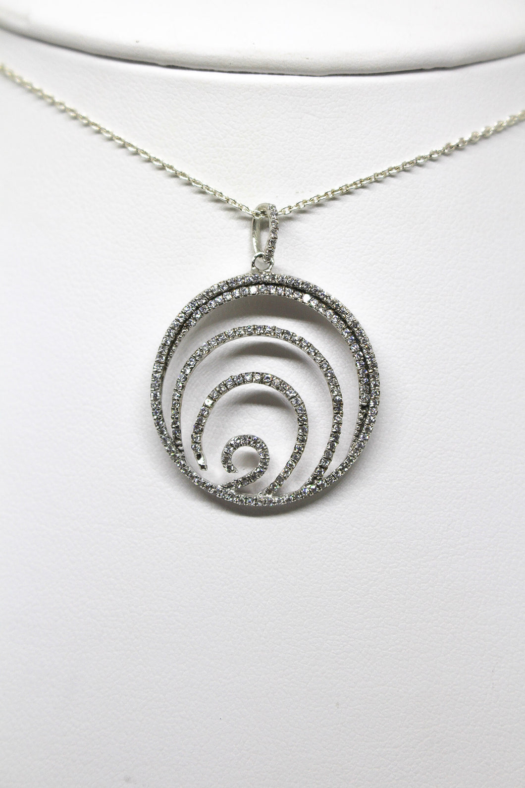 SS Multi Circle Spiral CZ Necklace