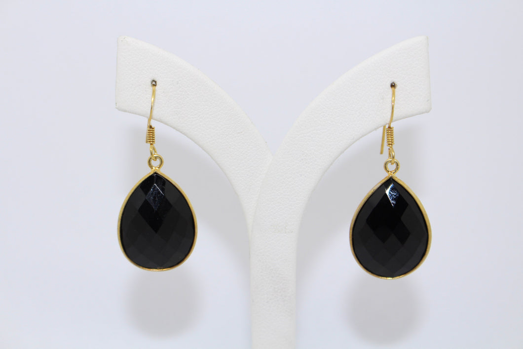 SS Gold Plated Black Onyx Earrings