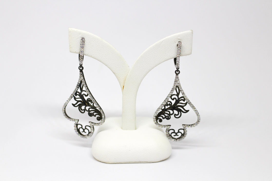 SS CZ Fancy Drop Earrings with Blk Filigree inner