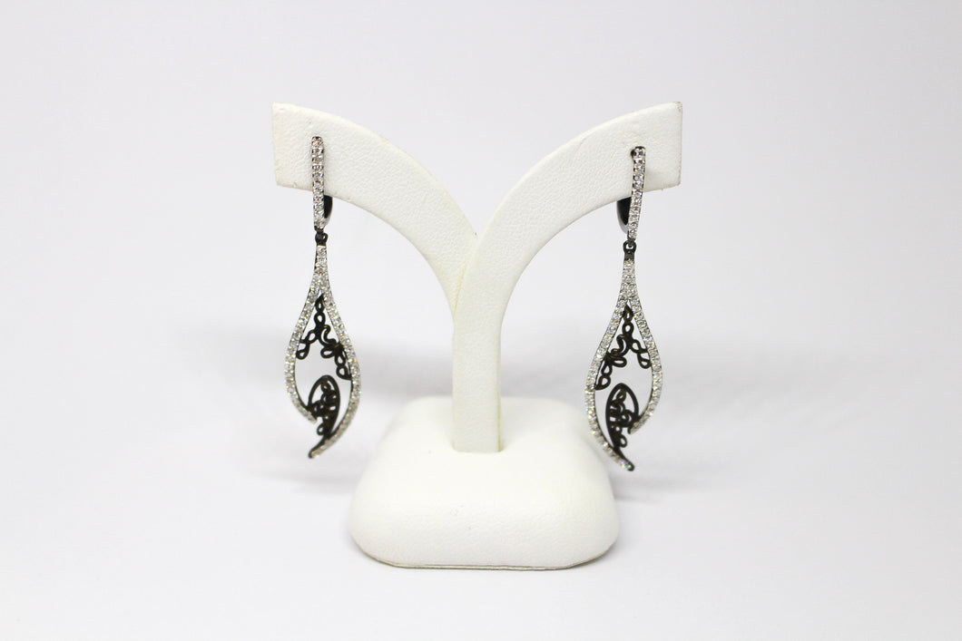 SS CZ Leaf Earrings with Blk Filigree inner