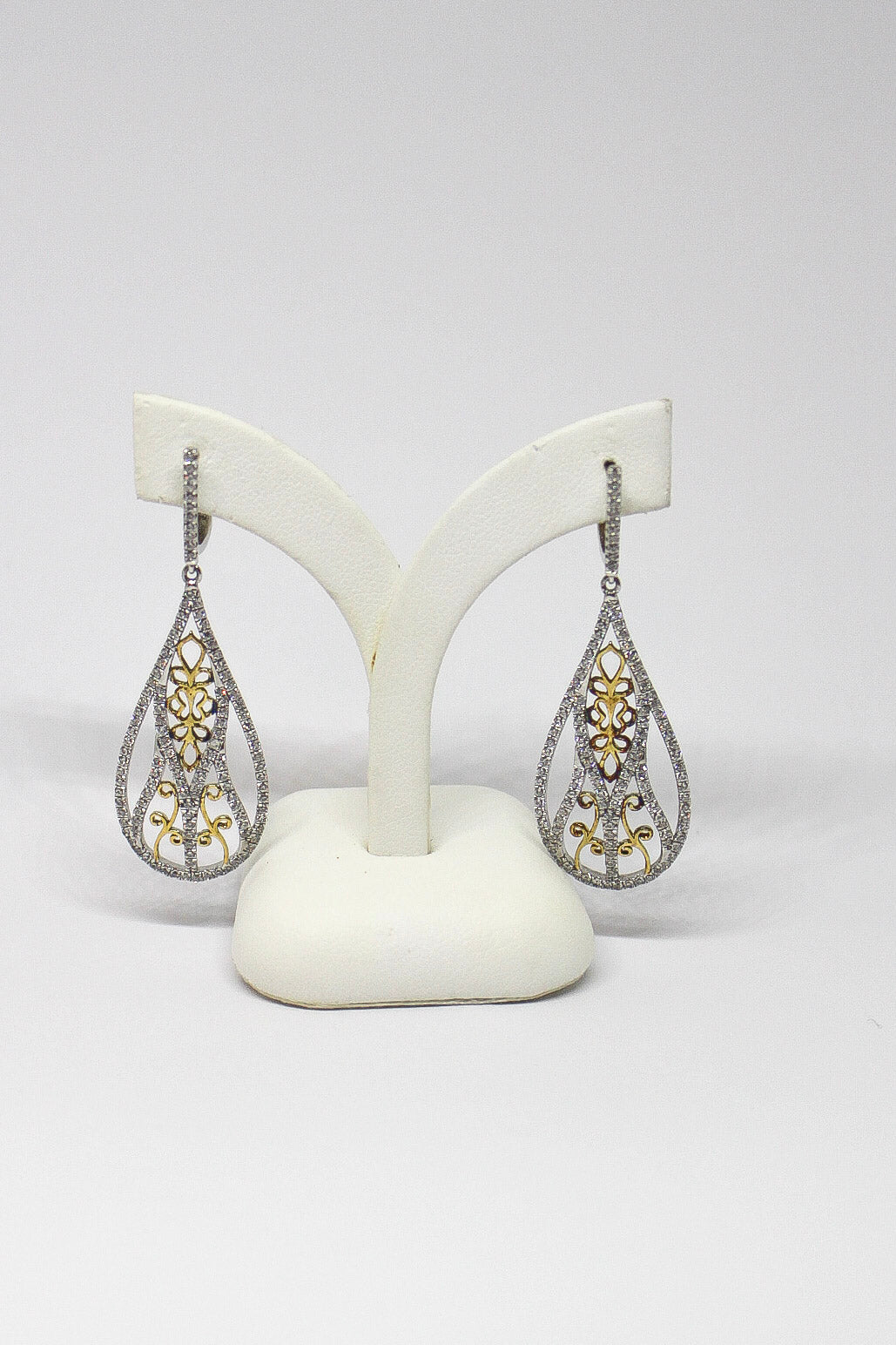 SS CZ Teardrop Gld Filigree Earrings