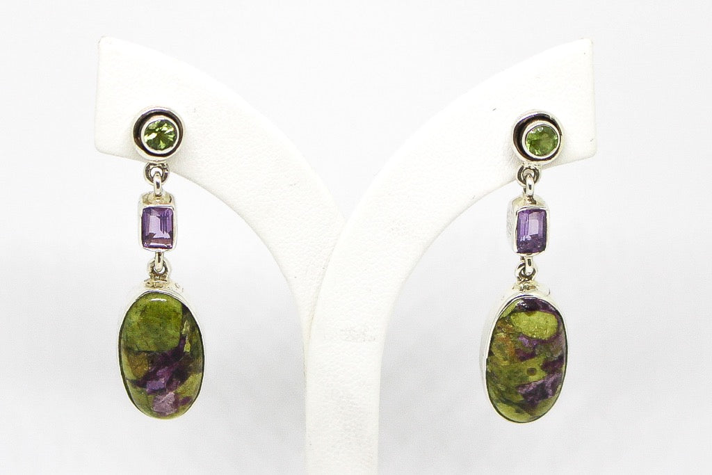 SS Stichtite, Amethyst & Peridot Stud Earrings