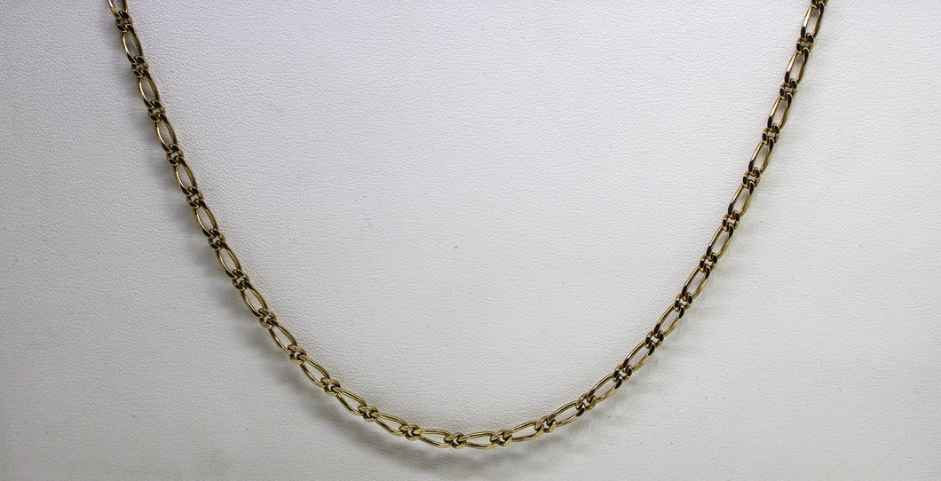 9ct YG Faceted Figaro 1+1  Chain