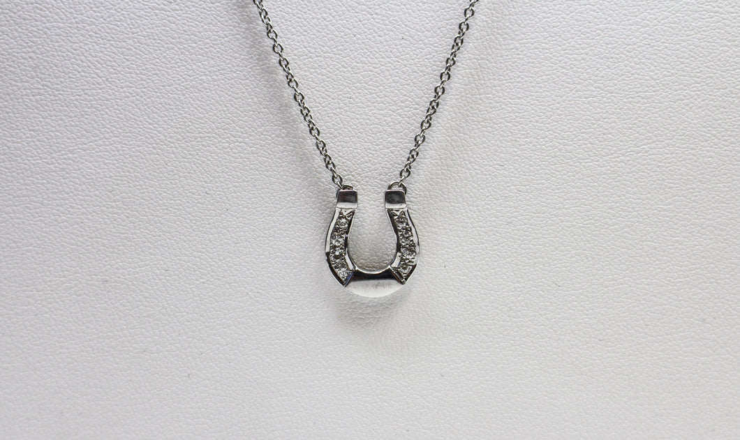 9ct White Gold Diamond Set Horseshoe Pendant including chain
