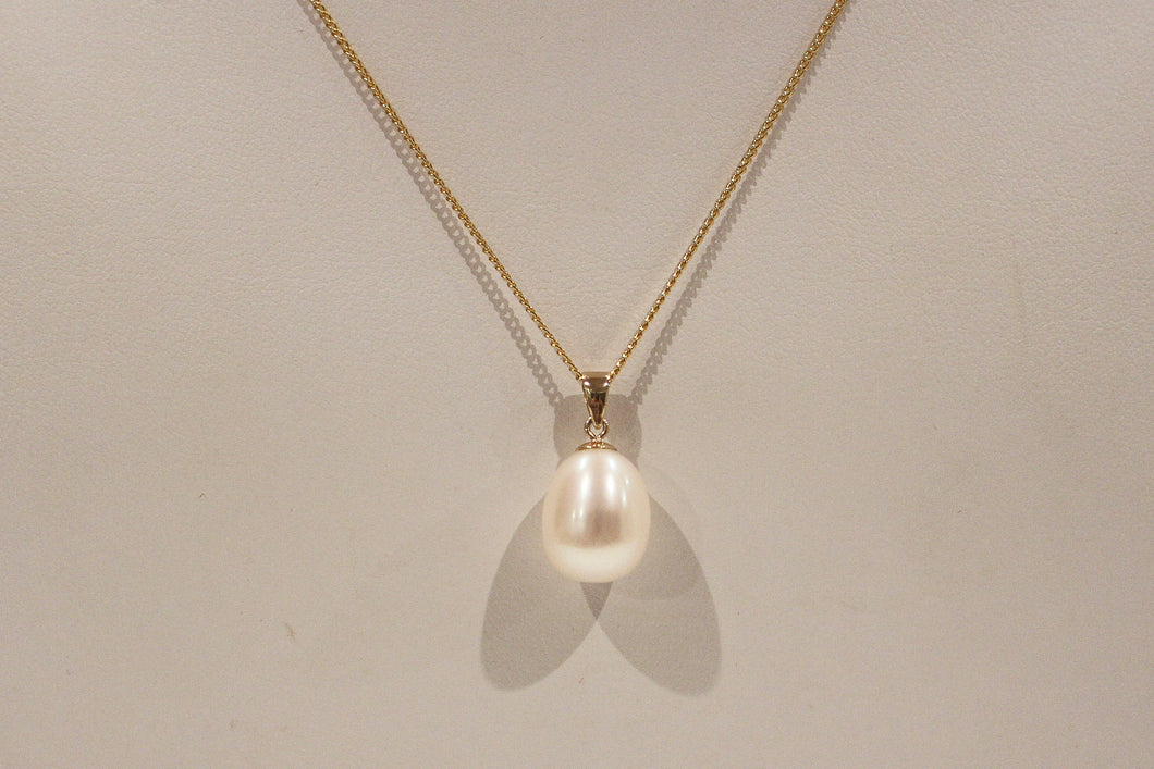 9ct Yellow Gold 10x13mm White Freshwater Pearl Pendant