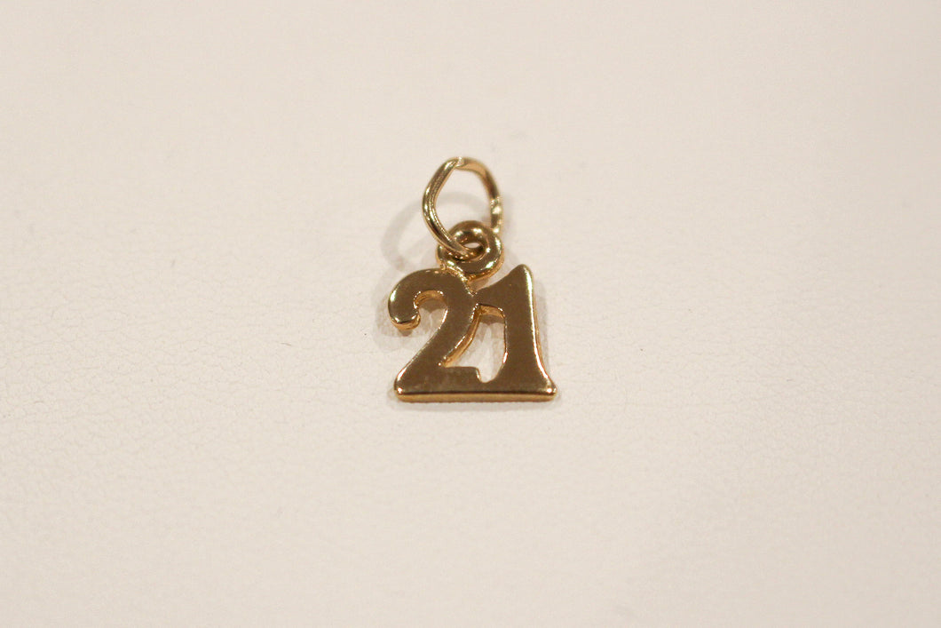 9ct Yellow Gold 21 Pendant/Charm