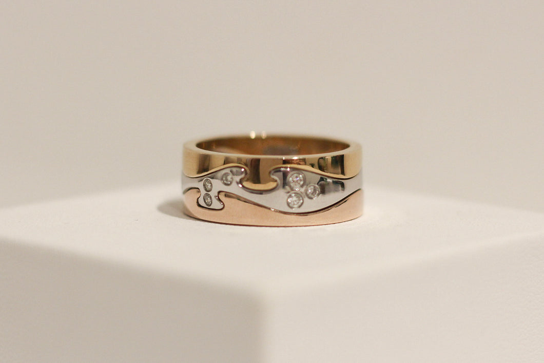 9ct Three Tone Diamond Puzzle Ring