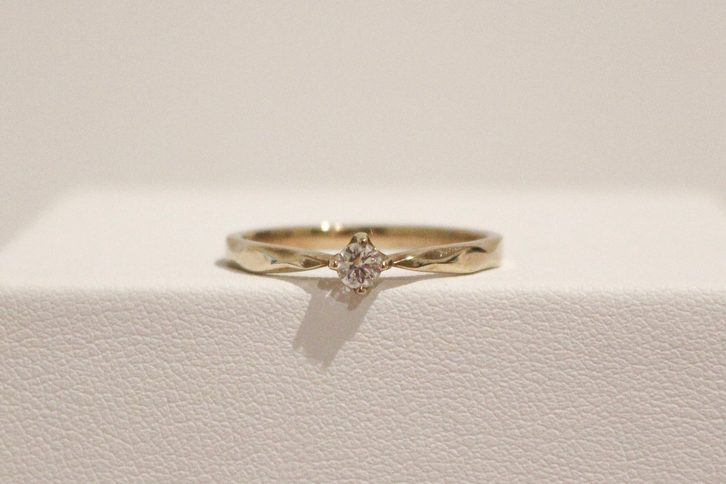9YG 3mm Solitaire Diamond Ring