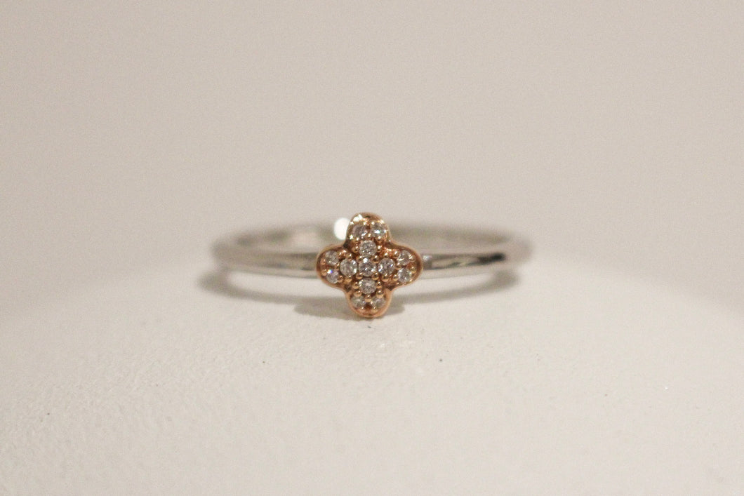 18ct White Gold Diamond Solid Flower Ring