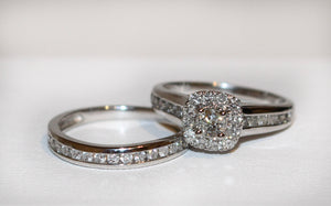 10ct WG Square Halo Diamond Ring SET (tdw 1ct)
