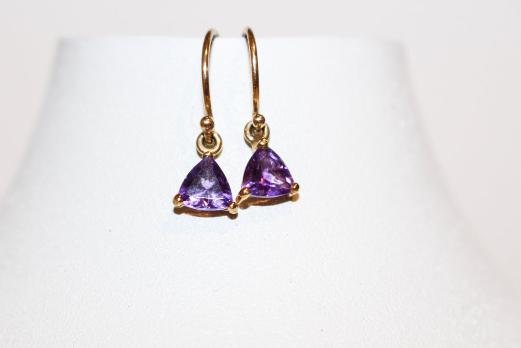 9ct YG Amethyst Drop Triangle Earrings