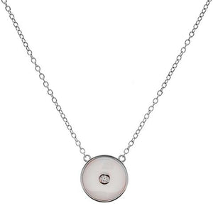 Sterling Silver White Ceramic Round CZ Pendant on fine chain