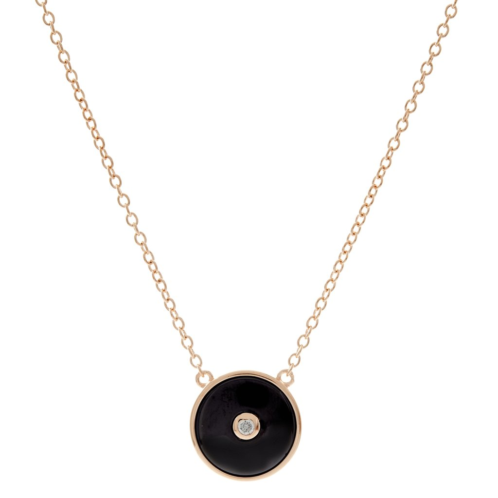 Sterling Silver Black Round CZ Pendant on fine chain