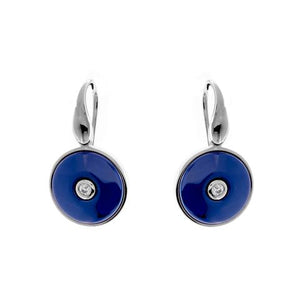 Sterling Silver Lapis Round CZ Ceramic Earrings