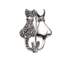 Sterling silver and marcasite sitting cats brooch