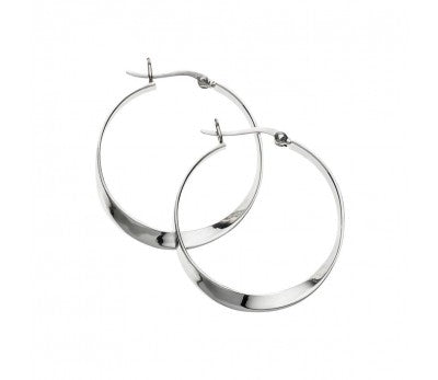 Sterling Silver fancy design hoop earring