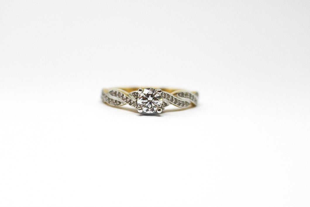 18ct Gold Two Tone Engagement Ring with ½ carat Diamond