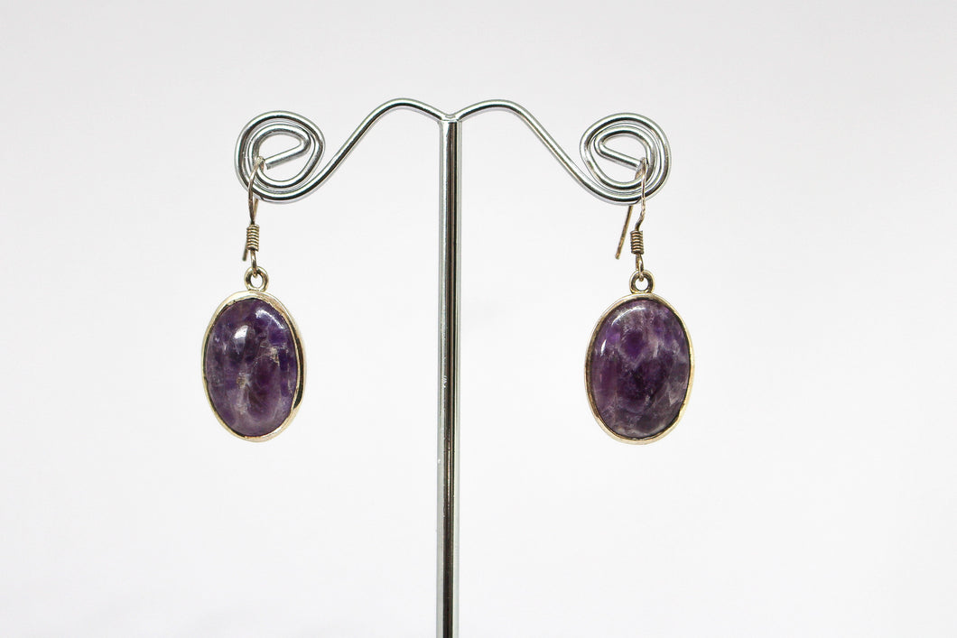 SS Charoite Drop Earrings