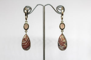 SS Rose Quartz & Agate Earrings