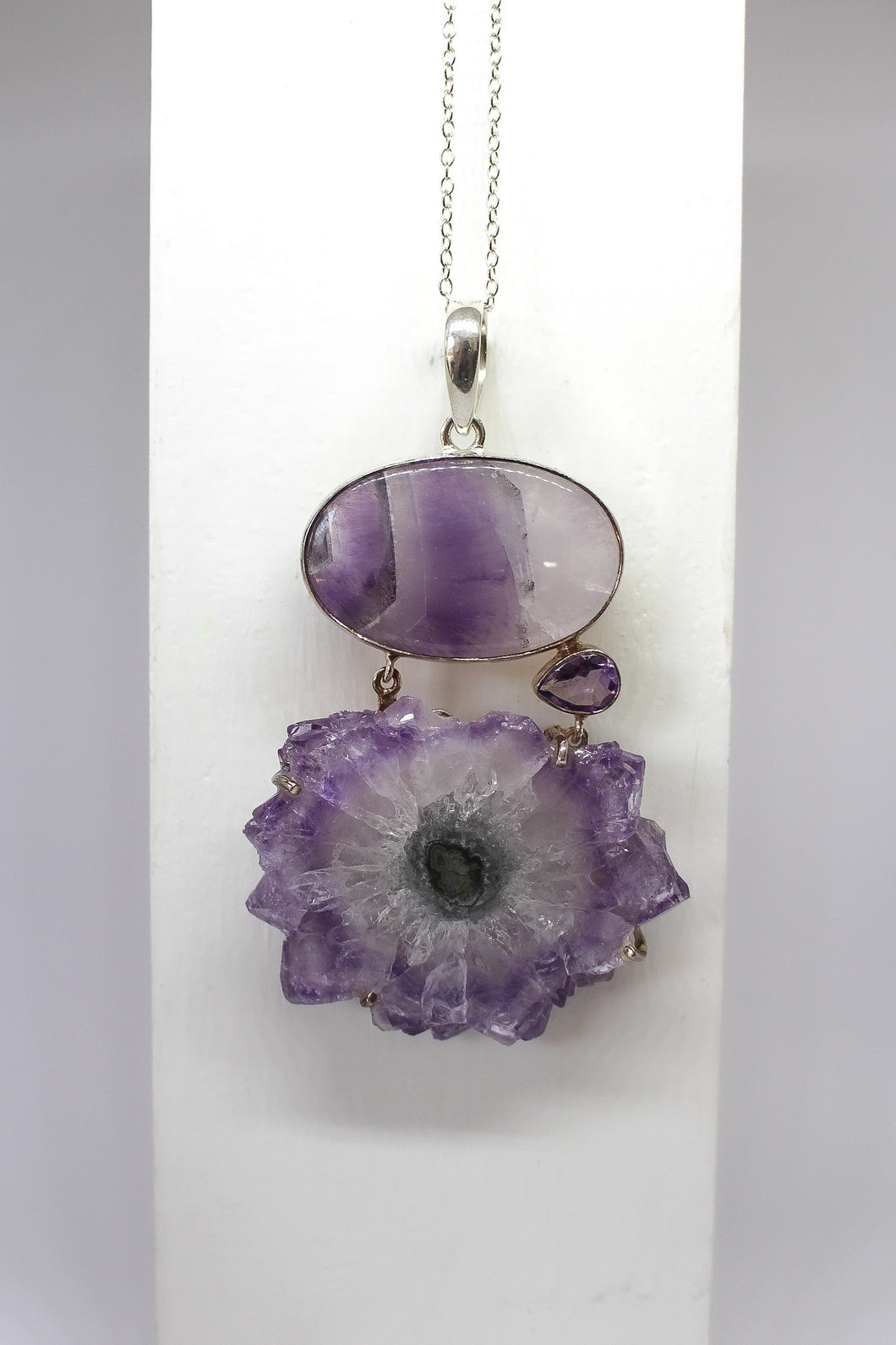 Sterling Silver Amethyst & Stalacite Pendant