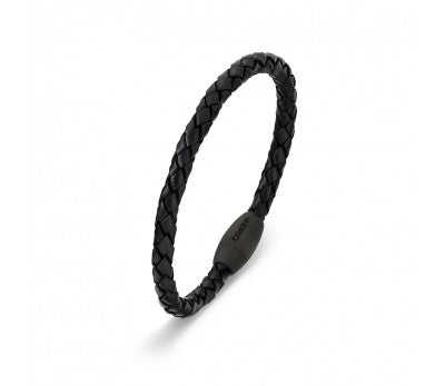 Blaze Ore Stainless Steel & Leather Bracelet with carbon fibre clasp