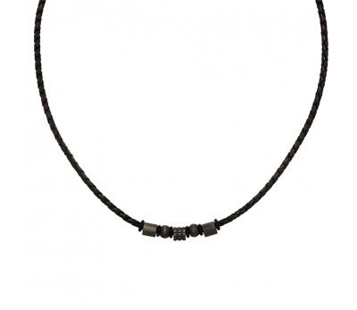 Blaze Ore stainless Steel Leather Necklace