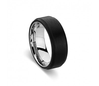 Blaze Ore Stainless Steel Black and Silver Ring