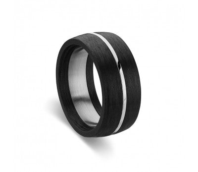 Blaze Ore Stainless Steel Black Ring with Silver detail