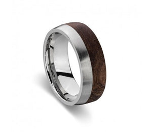 Blaze Ore Stainless Steel Wood Ring with Steel detail