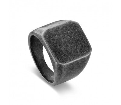 Blaze Ore Stainless Steel Signet Ring Antique Finish