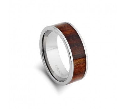 Blaze Tungsten Steel Ring with Wood Inlay