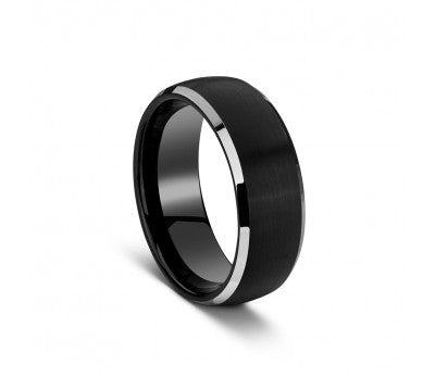 Stainless Steel Tungsten Series Black Matte & Silver Polished Ring - TSR55